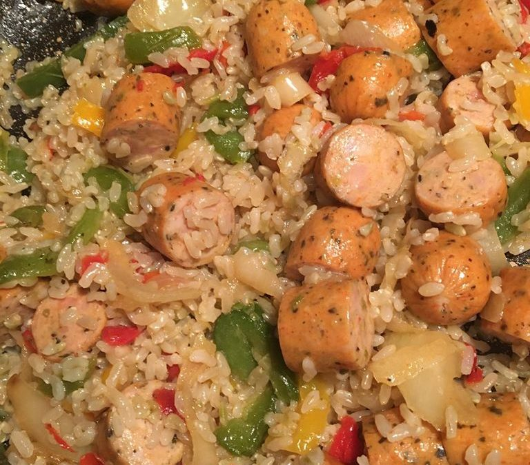 Organic Sweet Italian Chicken Sausage, Fire Roasted Peppers & Onions with Brown Rice