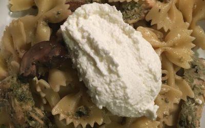 Pesto Genovese Chicken with Portobello Mushrooms and Bow tie Pasta